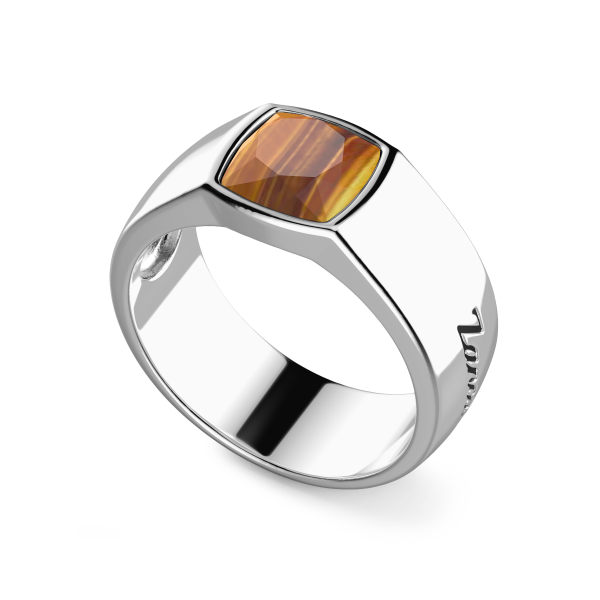 Silver ring with natural tiger's eyestone.