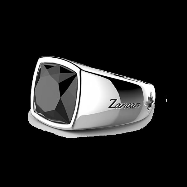 Anello Zancan in argento con onice naturale.