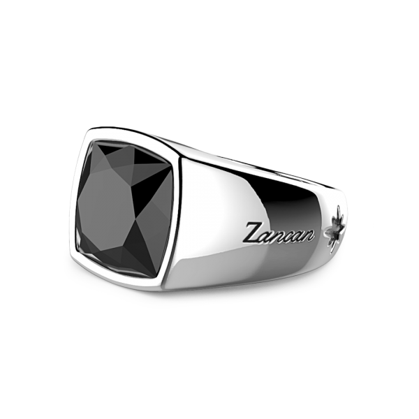 Silver ring with natural onyx stone.