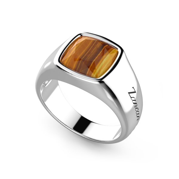 Zancan silver ring with tiger's eye stone.