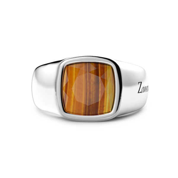 Silver ring with tiger's eye.