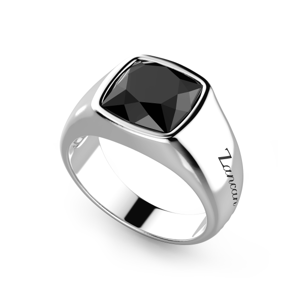 Zancan silver ring with onyx stone.