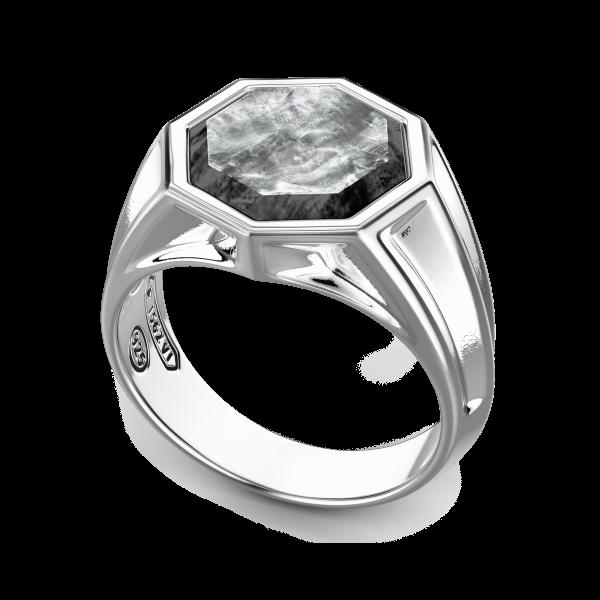 Anello Zancan in argento con madre perla di taglio esagonale.