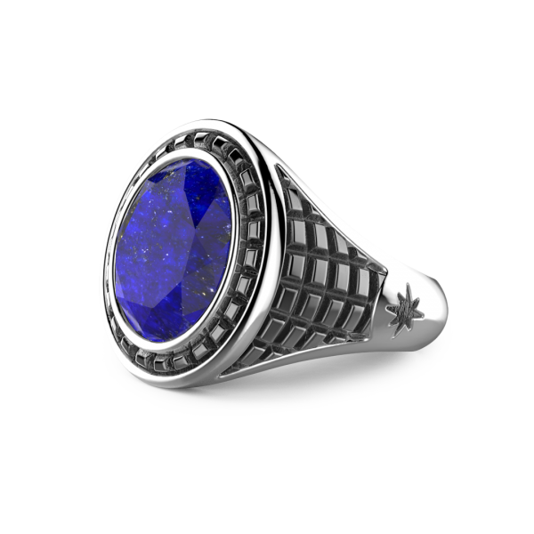Zancan silver ring with blue lapis stone.