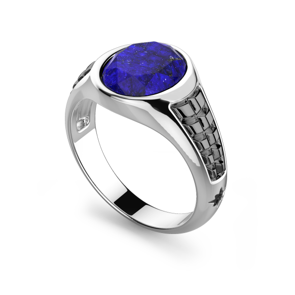Zancan silver ring with Lapis  stone.