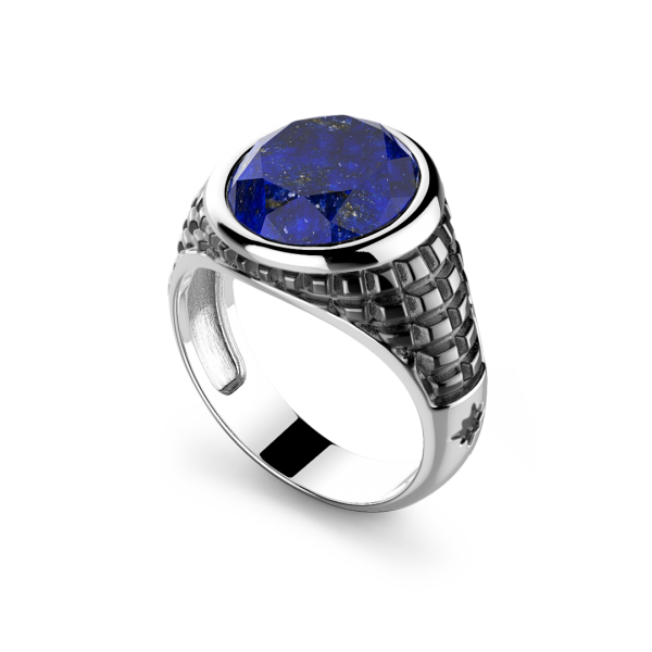 Zancan silver ring with round Lapis stone.