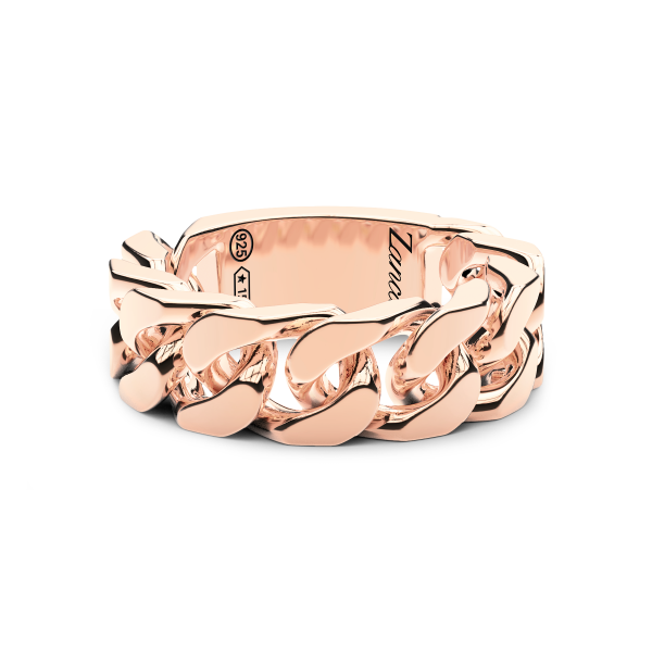 Men's silver ring with groumette.