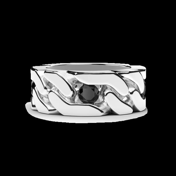 Zancan curb chain silver ring.