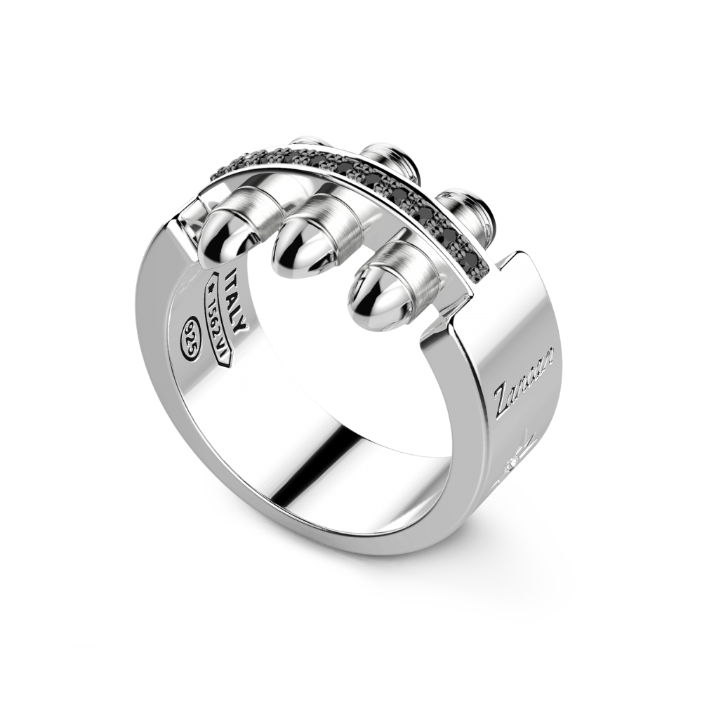 Zancan silver ring with black spinels
