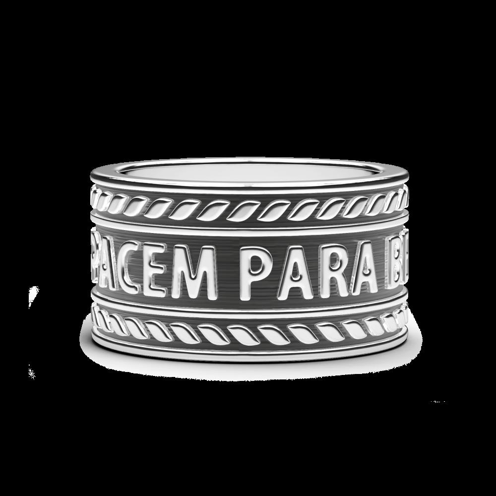 "Anello in argento con motto ""Si vis pacem para bellum""."