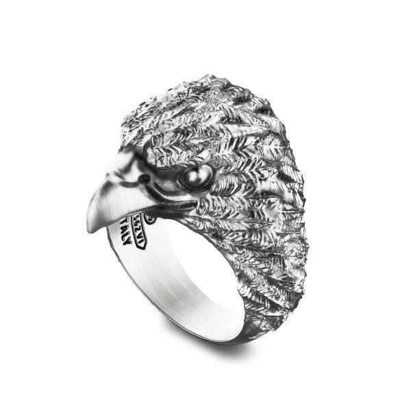 Zancan ring with silver eagle.