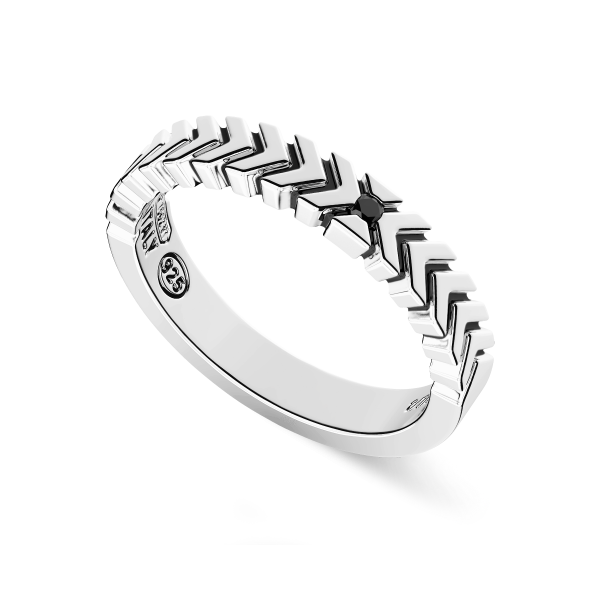 Silver ring with black...